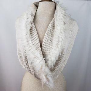 Cabi fur trimmed infinity scarf in EUC.